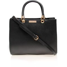 Carvela Kurt Geiger Darla Structured Tote ($59) ❤ liked on Polyvore featuring bags, handbags, tote bags, black, structured tote bag, black tote, structured tote, black structured handbag and black tote bag