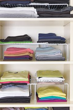 OMG these are perfect to finish organizing the closet. 3 high maybe? Most everything is already on the shelf but this would be AWESOME and double, even triple if I go 3 high, the space, clearing up a ton of room in the closet, maybe for all the art supplies we're organizing. Love love love love THIS idea!