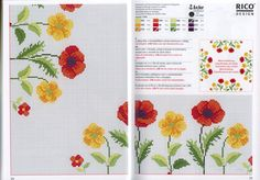 Gallery.ru / Photo # 1 - 80 - Auroraten Cross Stitch Designs, Cross Stitch Patterns, Cross Stitch Embroidery, Embroidery Patterns, Rico Design, Red Poppies, Table Covers, Pansies, Blackwork