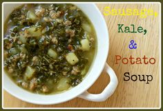 This Primal recipe for homemade sausage, kale, and potato soup is full of hearty, real food ingredients that will warm your family during the Fall season. Kale Recipes, Primal Recipes, Sausage Recipes, Clean Recipes, Real Food Recipes, Soup Recipes, Dinner Recipes, Cooking Recipes, Paleo Dinner
