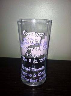 "Pink & purple ""It's a girl"" glass with stats (back)"