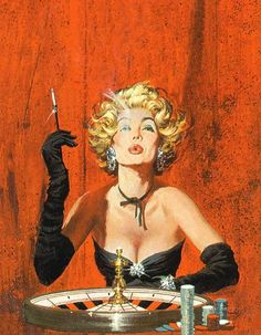 Robert McGinnis (born in illustrated hundreds of paperback book covers beginning in the late Most often identified with crime novels, McGinnis also produced movie posters for Breakfast at Tiffany's, Barbarella, and several James Bond movies. Robert Mcginnis, Pulp Fiction Art, Pulp Art, Girl Cartoon, American Artists, Pin Up Girls, Vintage Art, Vintage Graphic, Retro Art