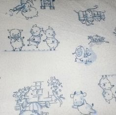 Nursery Rhyme Blue cotton Snuggle Flannel sold by the yard 42 inches wide