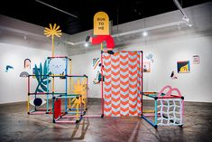 Beci Orpin and Carla McRae's exhibition, Out of Bounds, explores the notion of play Exhibition Display, Museum Exhibition, Performance Artistique, Instalation Art, Jacky Winter, Its Nice That, Up Book, Signage, Art For Kids