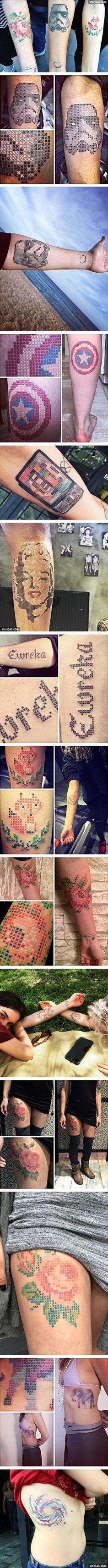 Tattoo artist creates intricate cross-stitched designs (By Eva Krbdk)