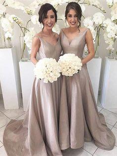 2017 Long bridesmaid dress, Simple bridesmaid dress, V-neck bridesmaid dress, Junior bridesmaid dress, Hi-LO bridesmaid dress.PD2110701
