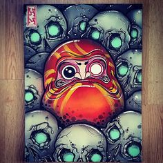 Daruma & skulls #daruma #skulls #liquitex #montanablack #montanawhite #spraypaint #acrylic #goldenacrylic #canvas #artnerd #303 #artcollective #coloradoart #asianart #pinoyart #denverart #coloradoartist #rawartist #rawdenver #denverartist