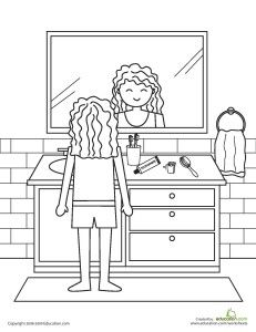 Back To School Kindergarten Life Learning Worksheets Color The Bathroom Routine Worksheet