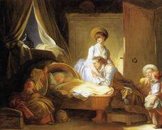 Jean-Honoré Fragonard (1732-1806) La Visite à la nourrice Huile sur toile - 64 x 79,5 cm Collection particulière Scène familiale , dit aussi La Visite à la nourrice Washington, National Gallery of Art