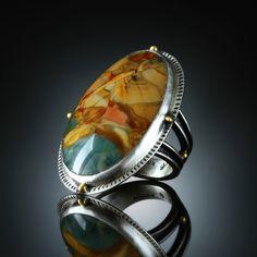 Morrison Ranch Jasper Ring. Fabricated Sterling Silver & 18k. www.amybuettner.com