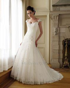 Spitze Tiefe Taille Reißverschluss Dünn Brautkleid