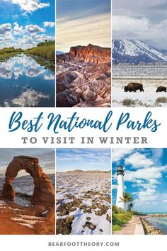 These are the best national parks to visit in the winter to help you stay outside all year round. Visit our favorites & avoid the summer crowds. The Best National Parks to Visit in the Winter Sheila Staley sjsasu Places to Go These are the best nat Florida National Parks, Joshua Tree National Park, Yellowstone National Park, Yellowstone Winter, Winter Camping, Winter Travel, Nationalparks Usa, Best Winter Vacations, Road Trip Usa