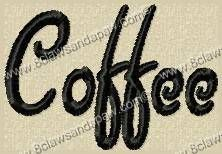 Coffee Embroidery Font by 8Clawsandapaw.com