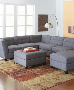 Gray, Fabric Sectional Sofas - Macy's