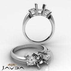 Round Semi Mount Diamond Classic 3 Stone Engagement Ring 14k White Gold 0.5Ct