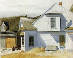 'House on Pamet River' by Edward Hopper. Museums: Whitney Museum of American Art, New York; Medium: watercolor over graphite on paper; American Art, Rural Scenes, Collaborative Art, Ashcan School, American Realism, American Painting, Edward Hopper, American Artists, Edward