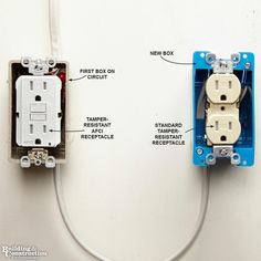 Installing an Electrical Outlet Anywhere - fyi home repair Adding receptacles isn't overly complicated, but there are facts you should know in order to stay safe and code compliant. Installing Electrical Outlet, Outdoor Electrical Outlet, Home Electrical Wiring, Electrical Projects, Electrical Outlets, Electrical Engineering, Electrical Inspection, Electrical Installation, Outlet Wiring