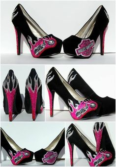 Our Wicked Addiction offers largest collection of custom wedding shoes or custom shoes, Special occasion shoes and Heels that will make you feel like a princess Harley Gear, Harley Bikes, Lady Biker, Biker Girl, Biker Wear, Harley Davidson Shoes, Special Occasion Shoes, Biker Chick, Hot Shoes