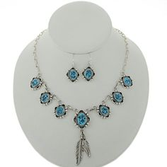 Natural Turquoise Silver Feather Necklace Earrings Navajo Link Choker