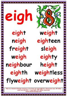 Phonics poster to show eigh words. English Reading, English Writing, English Words, English Lessons, Phonics Chart, Phonics Rules, Spelling Rules, Spelling Activities, Phonics Worksheets