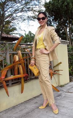 Cotton Khaki Anne Klein II Pantsuit with Beaded Cotton Yellow Halter Top, Gold Ralph Lauren Belt and Sunglasses, Ann Taylor Suede Shoes, and Cole-Haan Clutch and Amrita Singh, Antique Ivory and Bakelite Bangles. Classic and preppy Outfit that transitions well from day to night!