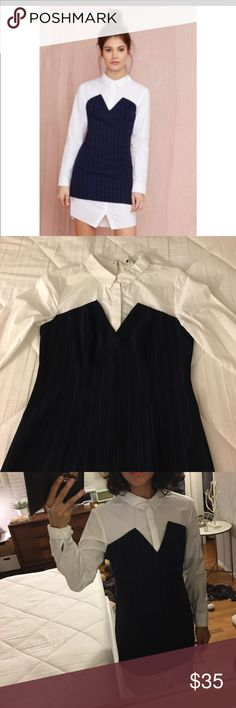 Shirt Dress Navy Pinned Striped w Collar Super cute navy blue pinned striped shirt dress. Never been work from Nasty Gal in Los Angeles, CA English Factory Dresses Midi
