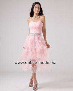 Rüschen Kleid Abendkleid in Rosa von www.online-mode.biz