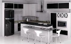 cozinha sob medida branca e preta