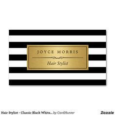 Hair Stylist - Classic Black White Stripes Double-Sided Standard Business Cards (Pack Of 100)
