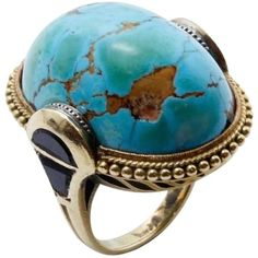Preowned 1930s Turquoise Matrix Onyx Gold Ring ($4,400) ❤ liked on Polyvore featuring jewelry, rings, black, gold turquoise ring, yellow gold turquoise ring, gold ring, turquoise gold jewelry and pre owned rings
