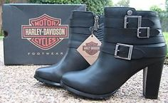 NEW-Ladies-Harley-Davidson-Fairhope-Black-Leather-Motorcycle-Fashion-Boots