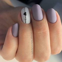 Matte nail art with tiny heart. Great lavender color