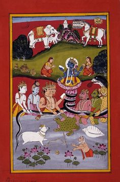 Viṣṇu in his second avatar (incarnation) as Kūrma. Indra, Śiva, and Brahma stand to one side, while three asuras are on the other in this depiction of the churning of the sea of milk.       Rajasthan School,     Jaipur Style.  Date      1800 (circa)