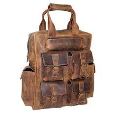 LUST Leather Laptop Backpack Day Pack Travel Bag Satchel with multiple pockets rucksack.