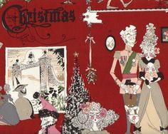 Patchworkstoff FRAU RICHTER, Christmas-Gesellschaft, dunkelrot-hautfarben