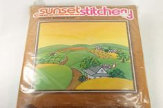 Vintage Crewel Embroidery Kit Sunset Stitchery Quilted Summer