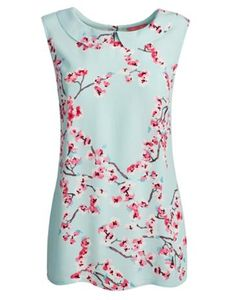 Joules Womens Round Collar Top, Opal Blue Blossom.                     We have a sneaking suspicion that this sleeveless top is all set to be a warm-weather favourite.  Crafted from viscose crepe that drapes rather than cling, it's a flattering piece to wear with anything from skinny jeans to Capri trousers.  We think you'll love the Peter Pan collar and hand-drawn blossom print.
