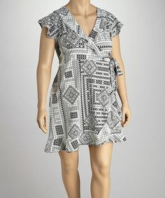 Take a look at this Black & White Geometric Plus-Size Wrap Dress by Madison Paige on #zulily today!