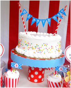 simple buttercream sprinkles cake bunting