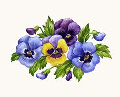 Pansies Hz by Elena Vladykina Art Floral, Pansy Tattoo, Flower Clipart, Decoupage Paper, Vintage Diy, Flowers Nature, Beautiful Flowers, Flower Cards, Vintage Flowers