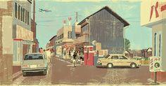 Unpublished cover piece for a novel. 未だ使われないままになっているある小説の装画#illustration #illustrator #retro #japan #tokyo #street #oldschool #oldie #oldtown #昭和 #レトロ