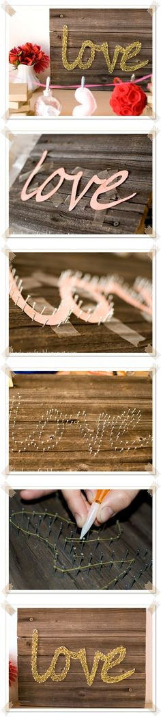 Brilliant way to string nails with thread using a mechanical pencil with a hole in the side!