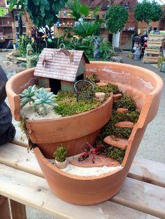 """12"""" broken clay pot fairy garden. I love the moss-enveloped staircase."""
