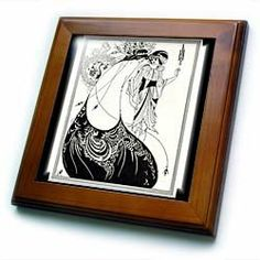 """1892 Sketch Of Peacocok Costume For Play - 8x8 Framed Tile by 3dRose. $22.99. Solid wood frame. Cherry Finish. Keyhole in the back of frame allows for easy hanging.. Inset high gloss 6"""" x 6"""" ceramic tile.. Dimensions: 8"""" H x 8"""" W x 1/2"""" D. 1892 Sketch Of Peacocok Costume For Play Framed Tile is 8"""" x 8"""" with a 6"""" x 6"""" high gloss inset ceramic tile, surrounded by a solid wood frame with pre-drilled keyhole for easy wall mounting."""