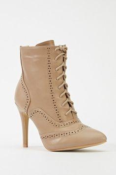 Laser Cut Trim Heeled Boots