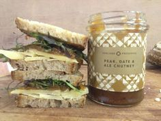 Sandwich of the day: Elliots Cafe loaf, Lincolnshire Poacher cheese, Chegworth Valley salad and Pear, Date & Ale Chutney. thanks Cracknell Artisan Food, Great British, Fun Drinks, Chutney, Preserves, Pear, Ale, Sandwiches, England