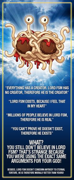 """They even have books to """"prove"""" he is real! They even have books to """"prove"""" he is real! Anti Religion, Religion And Politics, Atheist Quotes, Religion Quotes, Flying Spaghetti Monster, Tattoo Sticker, Gods Not Dead, Truth Hurts, Thought Provoking"""