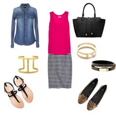 Effortless Style: Striped Pencil Skirt, Solid tank, Chambray