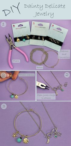 DIY Dainty Delicate Charm Necklace and Bracelet Jewelry