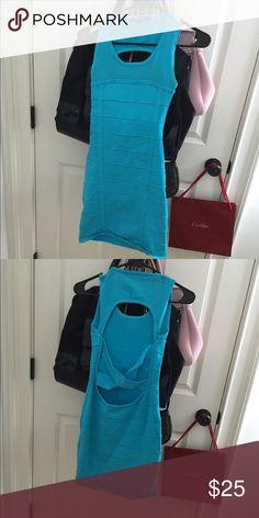 Blue bandage dress Criss cross back WOW couture Dresses